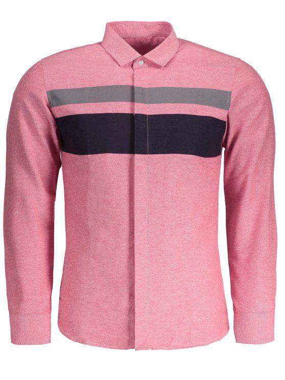 Camisa de bloco de cor para homens - Rosa 4XL