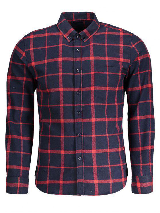 Camisa de franela a cuadros con botones - Azul y Rojo 4XL
