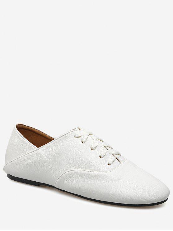 كعب كعب حذاء جلد فو - أبيض 37