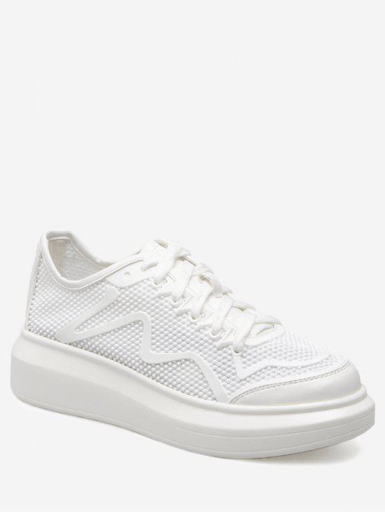 Chaussures de sport respirant respirant en cuir PU - Blanc 39