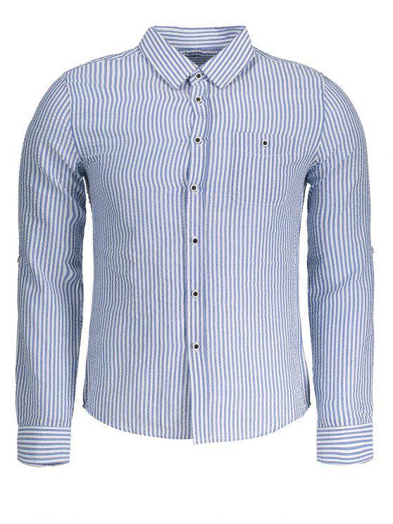 Camisa listrada com crinkly - Azul 2XL