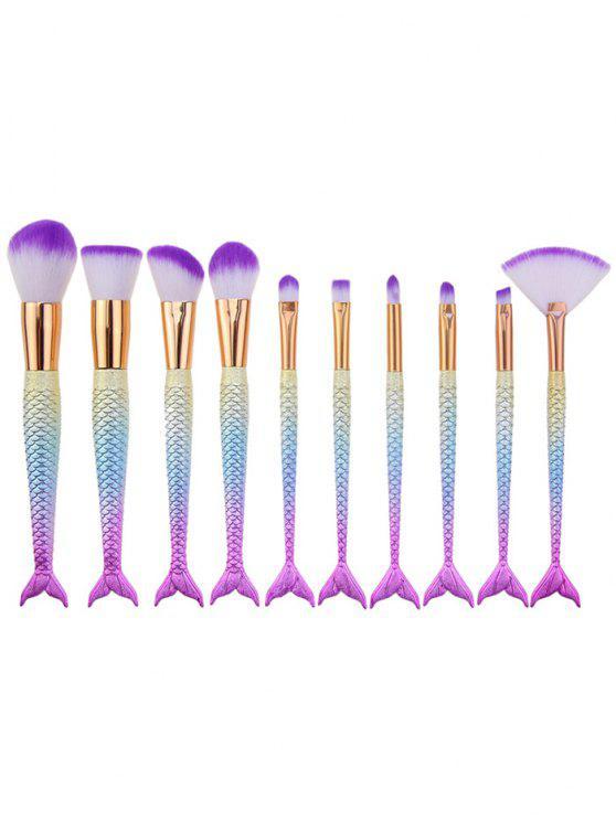 ladies 10Pcs Ombre Hair Mermaid Handle Makeup Brushes Set - PINKISH BLUE