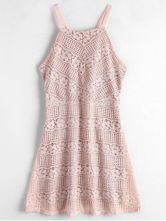 Vestido de encaje cami doble capa - Rosa Luz M