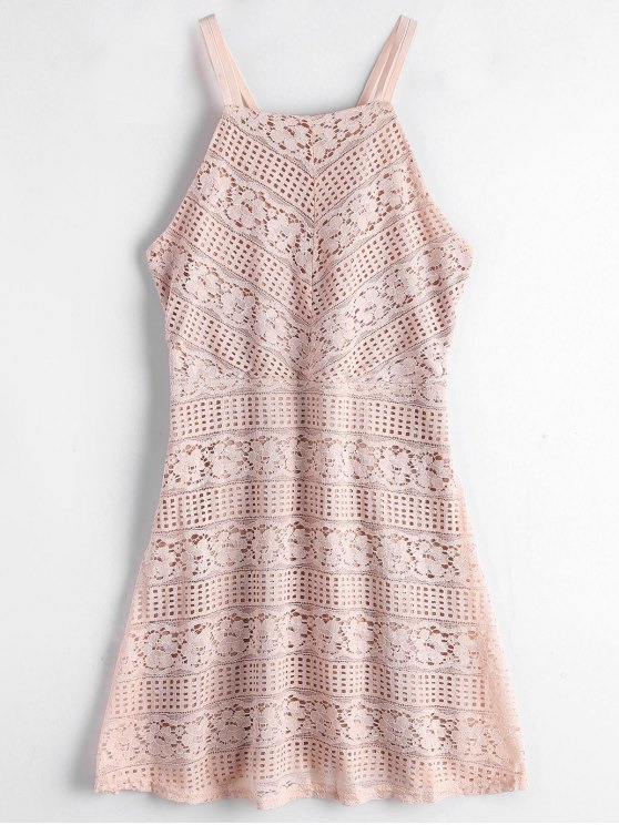 shop Double Layered Cami Lace Dress - LIGHT PINK S