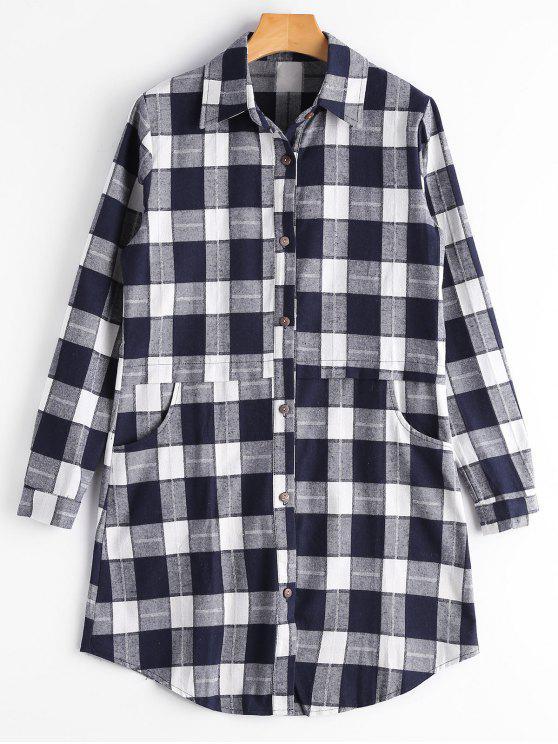 Button Up Pockets Kariertes Longline Shirt - Schwarzblau S
