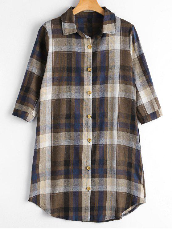 Chemise boutonnée boutonnée avec poches - café M