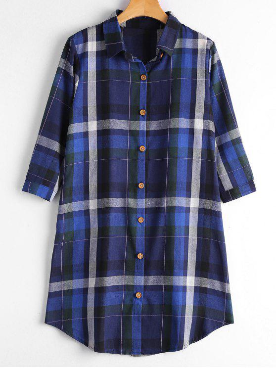 best Button Up Long Checked Shirt with Pockets - ROYAL M