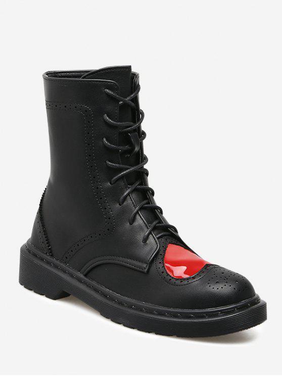 Stiefel zum Knöchel mit Herz Muster - Schwarz 38