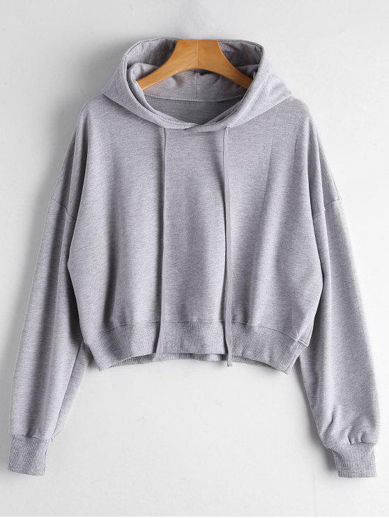 Einfacher Hoodie mit Drop Schulter und Kordelzug - Grau Eine Größe