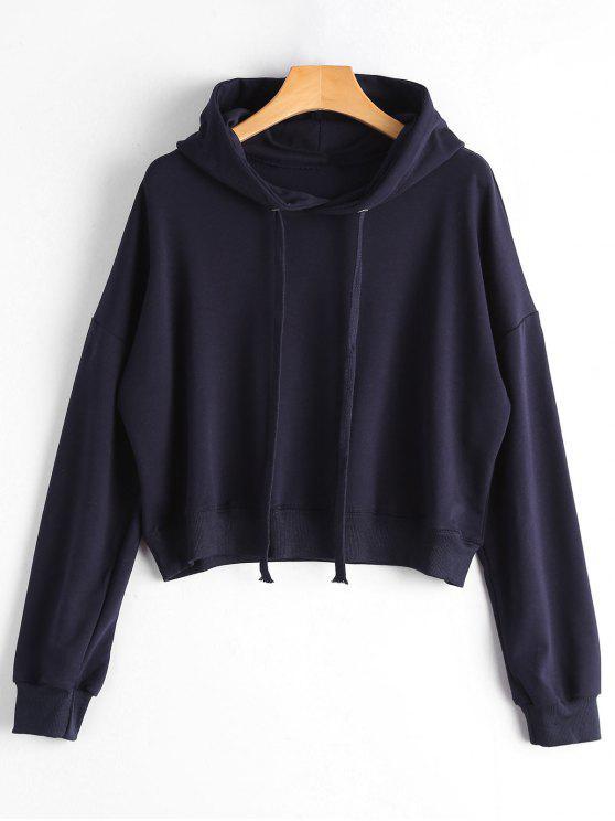 Einfacher Hoodie mit Drop Schulter und Kordelzug - Schwarzblau Eine Größe