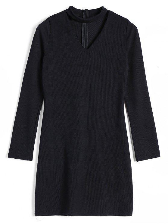 Vestido de punto con ribetes - Negro XL