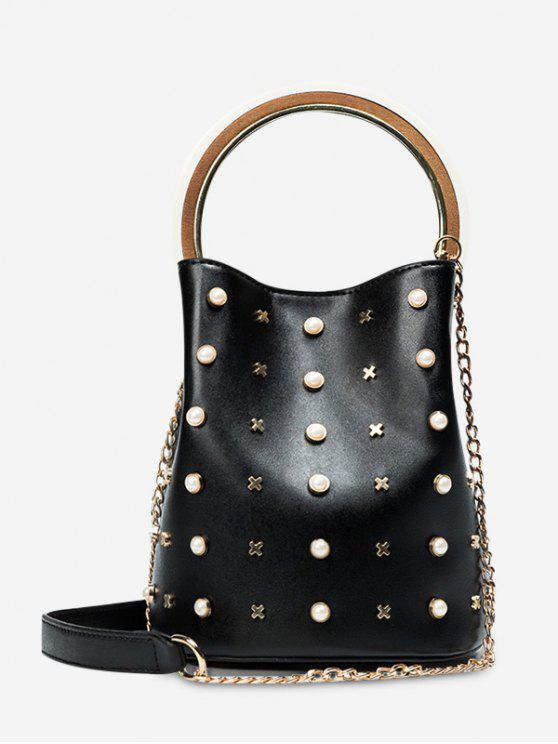 ladies Chain Faux Pearls Bucket Bag - BLACK