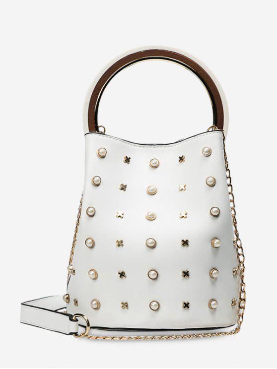 lady Chain Faux Pearls Bucket Bag - WHITE