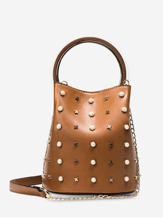 online Chain Faux Pearls Bucket Bag - BROWN