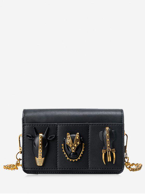 hot Chain Rivets Faux Leather Crossbody Bag - BLACK