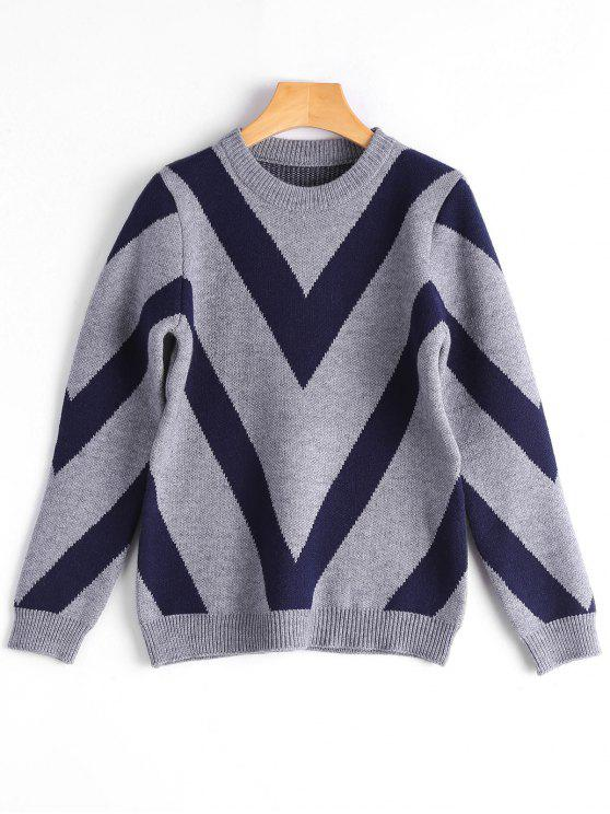 shop Crew Neck Contrast Graphic Sweater - GRAY ONE SIZE