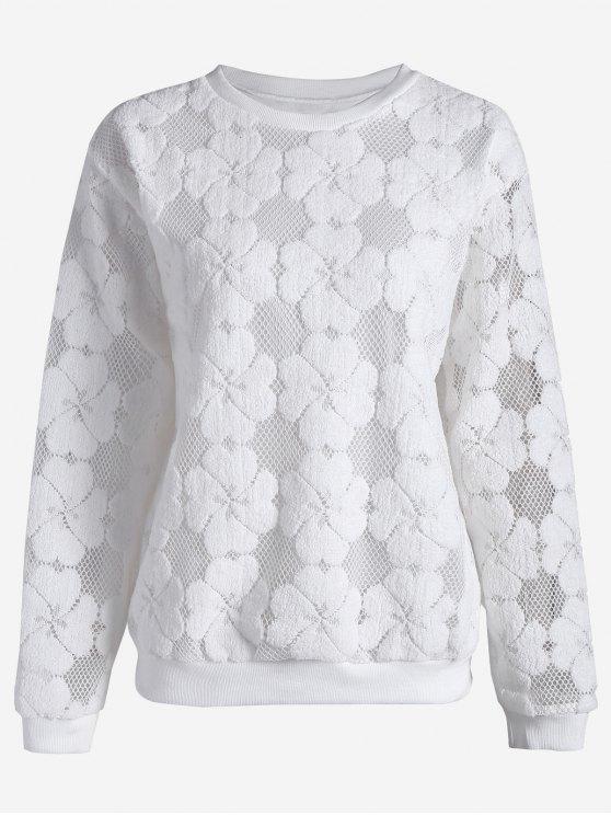 trendy Plus Size Mesh Flower Sweatshirt - WHITE 3XL