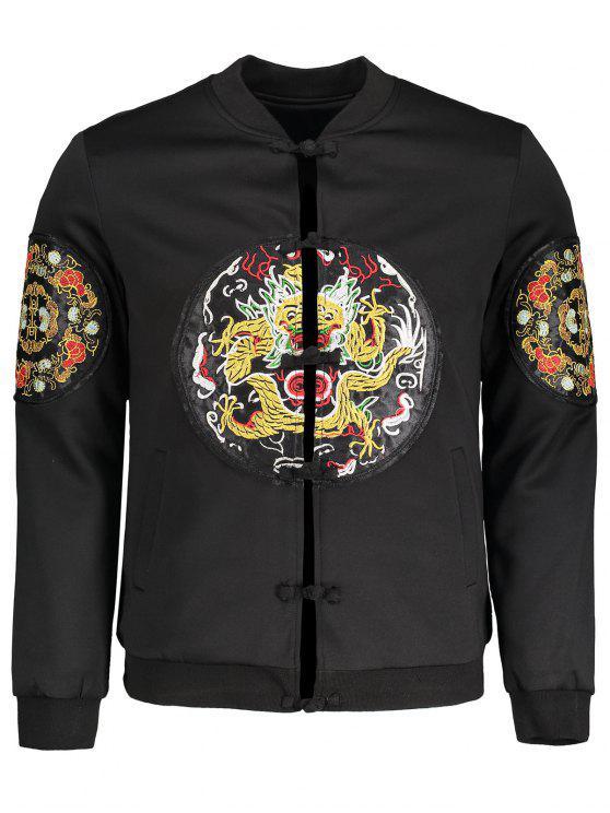 unique Embroidered Applique Bomber Jacket - BLACK 3XL