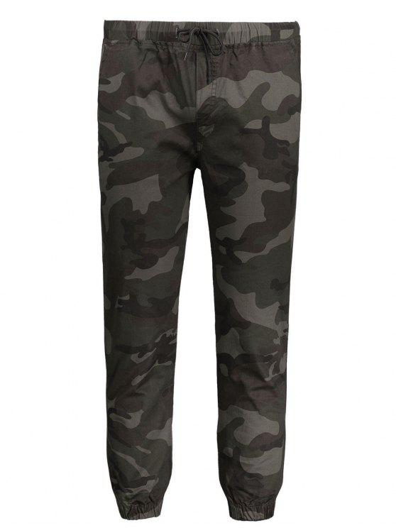 ladies Drawstring Camo Jogger Pants - ARMY GREEN XL