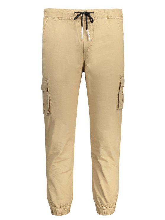 Pantalones con tirantes de contraste - Caqui 4XL