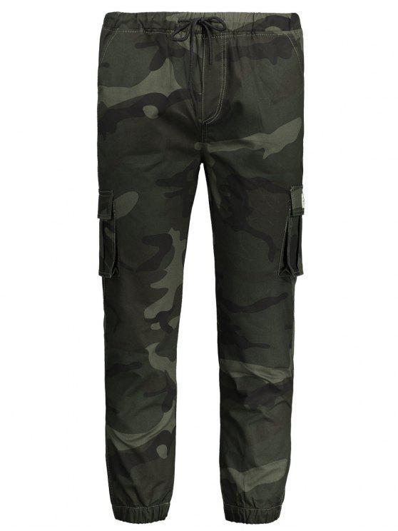 Calças de jogger de camuflagem com cordão - Exército verde 2XL