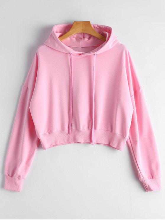 Einfacher Hoodie mit Drop Schulter und Kordelzug - Pink Eine Größe