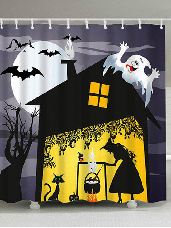 Halloween Night Witch Print Fabric Bathroom Shower Curtain