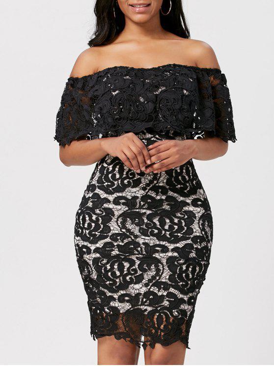 فستان رسمي بلا اكتاف مصغر - أسود L