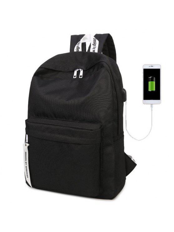 حقيبة الظهر نايلون بسحاب - أسود