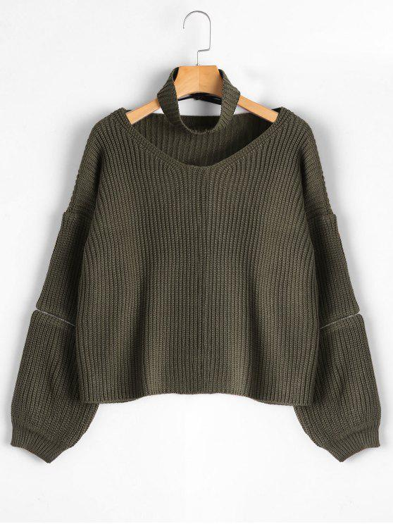 shop Zipper Sleeve Chunky Choker Sweater - ARMY GREEN ONE SIZE