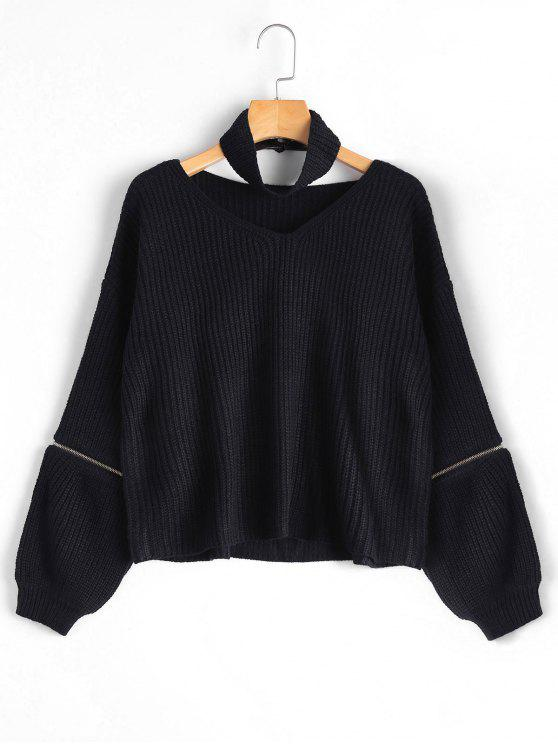 Sweater Choker Épais Manches Zippées - Noir TAILLE MOYENNE