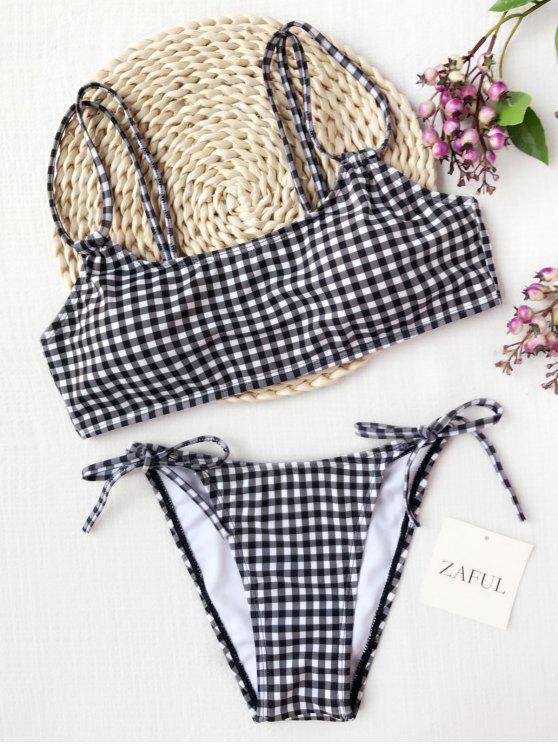 latest Plaid Double Straps String Bikini - WHITE AND BLACK L