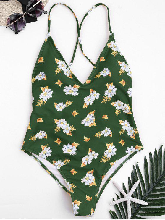 Maiô Floral Enrugado com Costura Alta e Costa Cruzada - Verde S