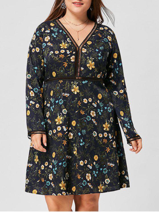 Übergröße Kleid mit Blumenmuster ,V-Ausschnitt und Langarm - Schwarzblau XL