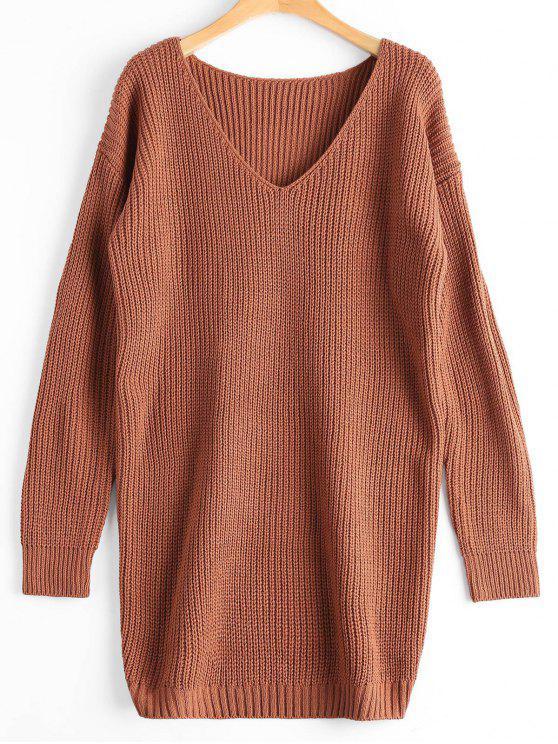 Suéter de gran tamaño con cuello en V - Café Luz Única Talla