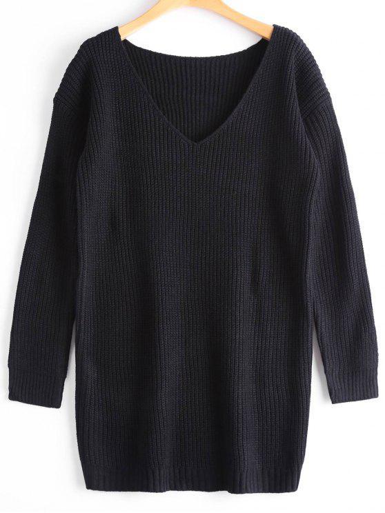 Suéter de gran tamaño con cuello en V - Negro Única Talla