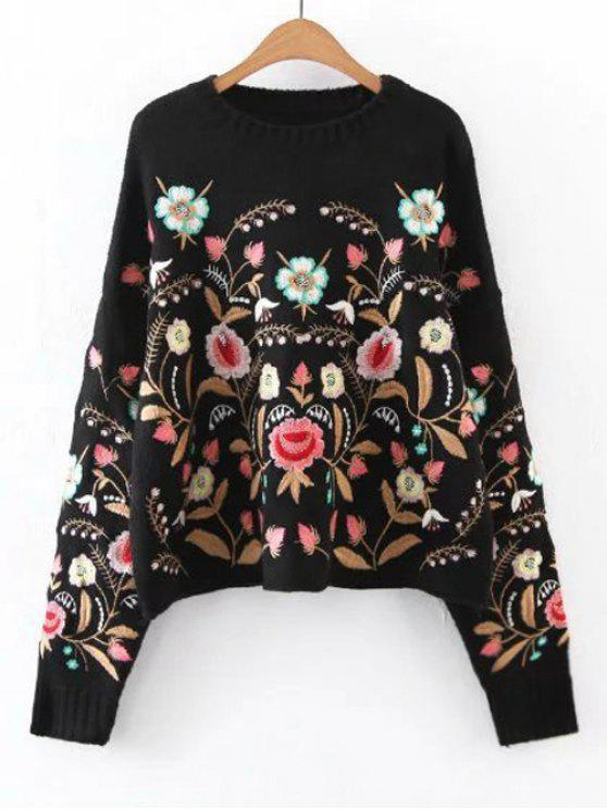 trendy Oversized Floral Embroidered Sweater - BLACK S