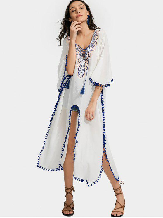 online High Slit Embroidered Tassels Kimono Blouse - WHITE M