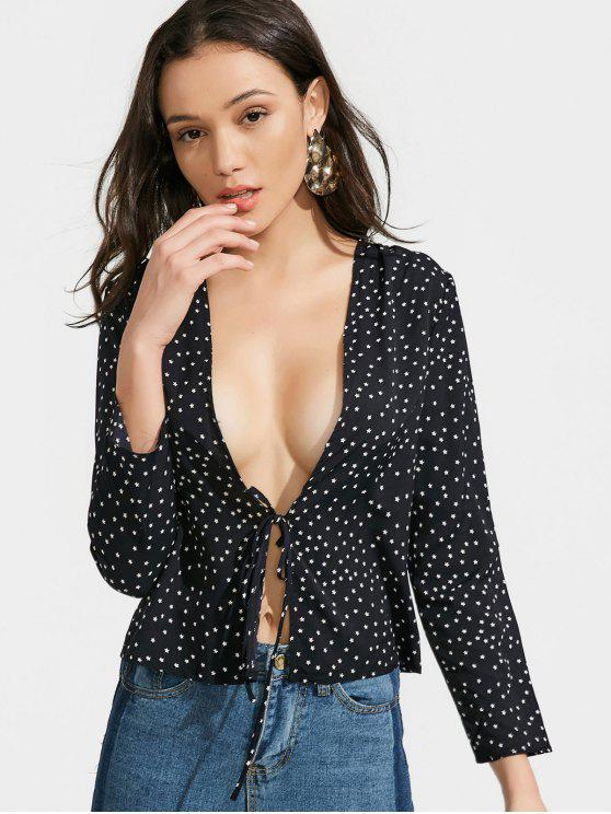 ladies Bow Tied Star Blouse - BLACK S