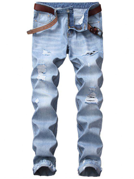 Cremallera volar piernas rectas mezcla lavado pantalones vaqueros apenados - Azul Claro 36