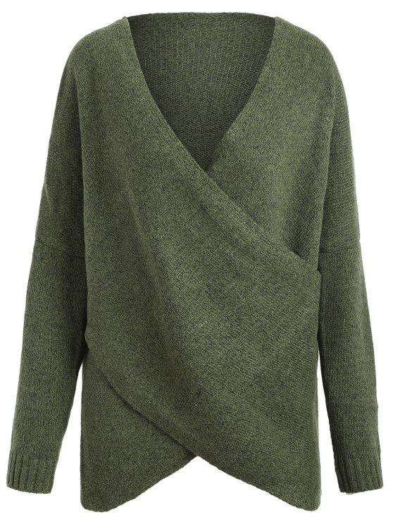 Maglione di spalla di goccia di formato di più di formato - Verde Dell'esercito Una Taglia