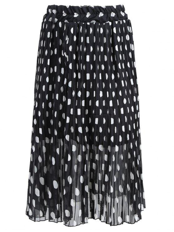 26d2773c8d9 25% OFF  2019 Plus Size Polka Dot Pleated Skirt In BLACK 3XL