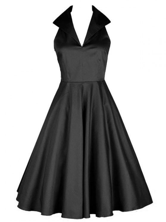 2019 Vintage Turn Down Collar Pin Up Dress In Black S Zaful