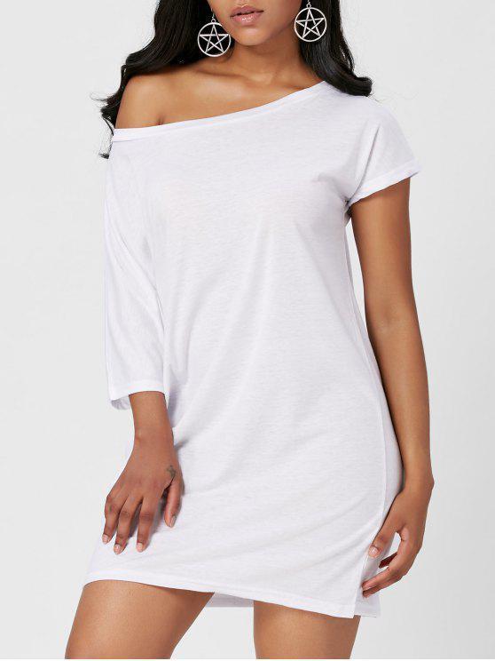 فستان انحراف الرقبة - أبيض XL
