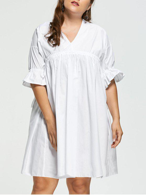 Plus Size Flare Sleeve Babydoll Dress WHITE