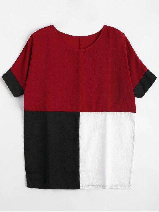 Blusa de bloque de color de mayor tamaño - Rojo XL