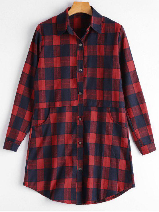 affordable Button Up Pockets Checked Longline Shirt - RED M