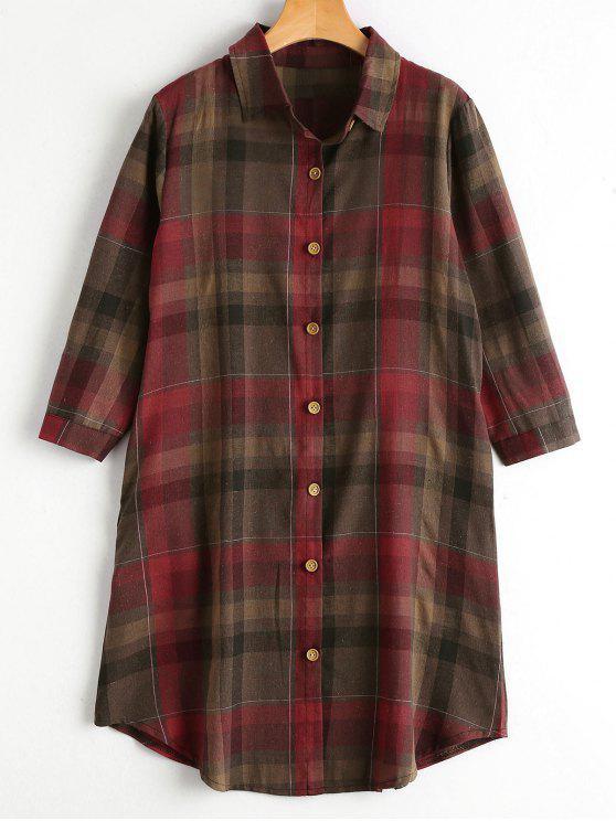 Chemise boutonnée boutonnée avec poches - Rouge XL