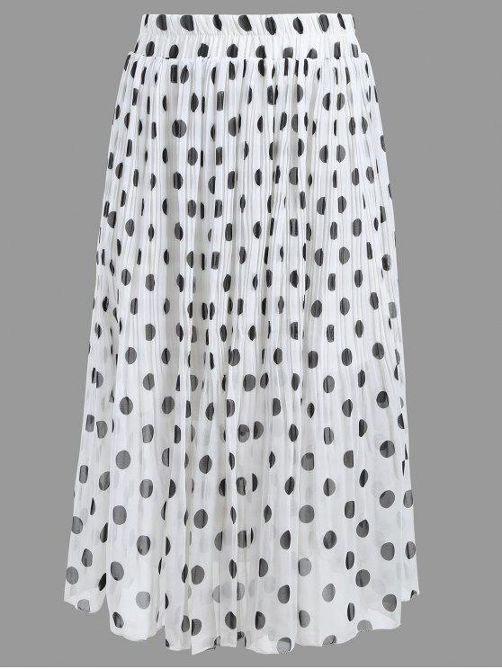 191fe4943 27% OFF] 2019 Plus Size Polka Dot Pleated Skirt In WHITE   ZAFUL