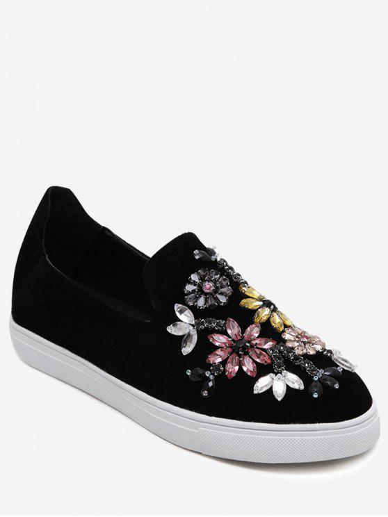 women Slip On Suede Beading Flat Shoes - BLACK 38